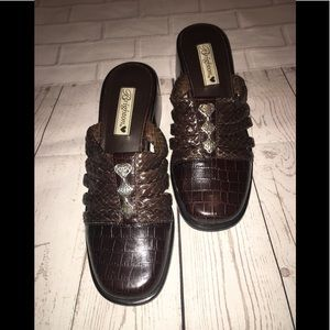 Brighton Brown Croc Braided Slip On Mules Fable